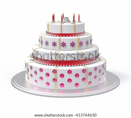 3D Isolated White Cake Illustration. Wedding Celebration.