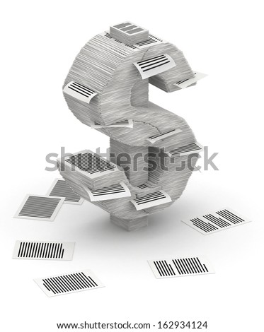 3D isometric dollar sign , makes from stacks of paper pages font - stock photo