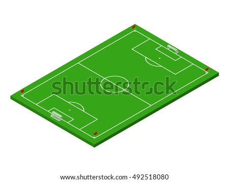 3D isometric green football field with official correct proportions. Sport theme raster illustration, soccer sports field, stadium. Isolated editable design element for infographics, banner, collage