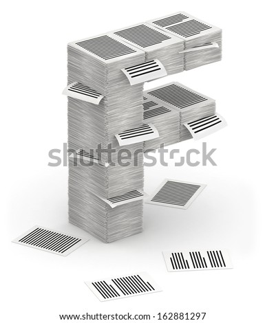 3D isometric letter F, made from stacks of paper pages font