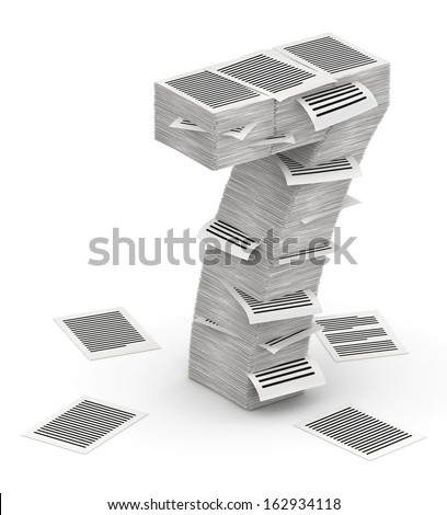 3D isometric number 7, makes from stacks of paper pages font - stock photo