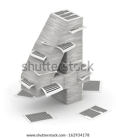 3D isometric number 4, makes from stacks of paper pages font - stock photo