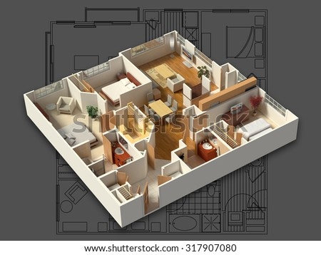 3D isometric rendering of a furnished residential house, on a blueprint, showing the living room, dining room, foyer, bedrooms, bathrooms, closets and storage. - stock photo