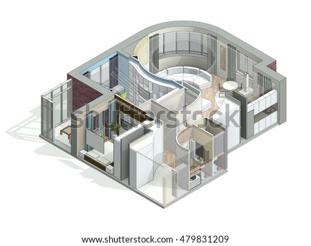 3d Isometric View Cut Residential House Stock Illustration 479831209