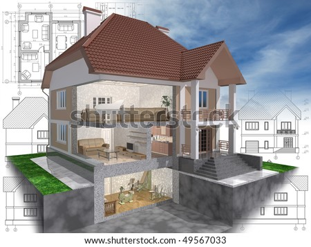 3D isometric view of the cut residential house on architect drawing. - stock photo