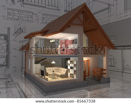 3D isometric view of the cut residential house on architect drawing. Image with clipping path. - stock photo