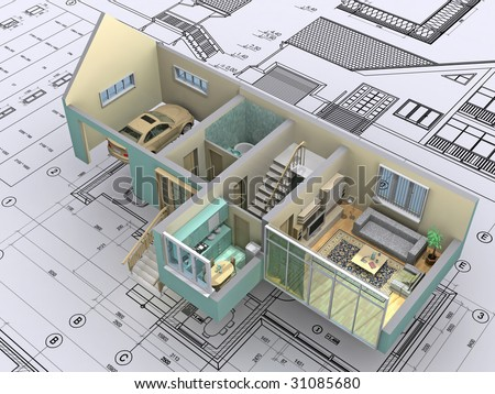 3D isometric view the cut residential house on architect?s drawing. Background image is my own. - stock photo