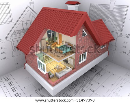 Perfect 3D Isometric View The Residential House On Architectu0027s Drawing. Background  Image Is My ...
