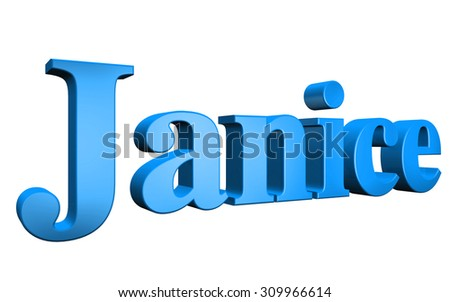 3D Janice text on white background