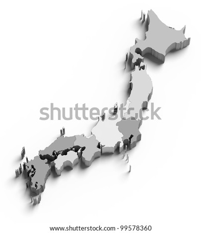 3d Japan grey map on white isolated - stock photo