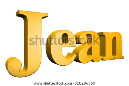 3D Jean text on white background