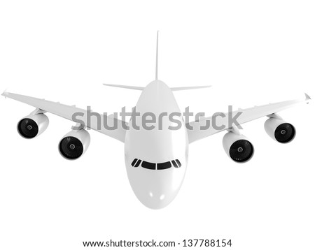 3d Jet airliner isolated on white background - stock photo