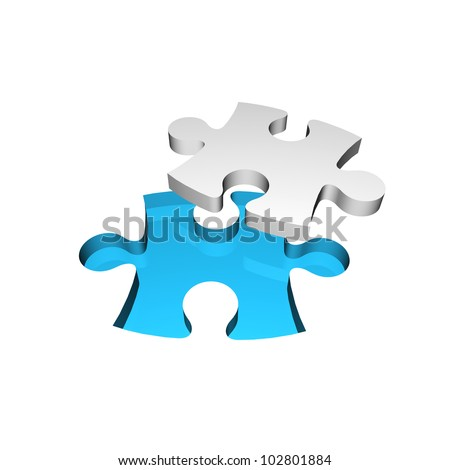 3D Jigsaw Puzzle. Business concept for complete the final missing puzzle piece