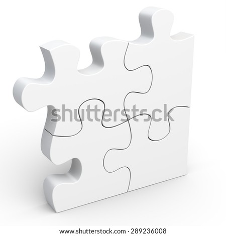 3d Jigsaw Puzzle Concept on white background - stock photo