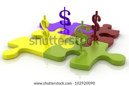 3D Jigsaw puzzle with dollar signs concept - stock photo