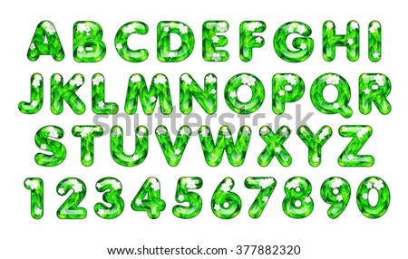 "3d Joyful Decorative glossy letters of the alphabet and numbers. The ""Eco"" style, with leaves and flowers. - stock photo"