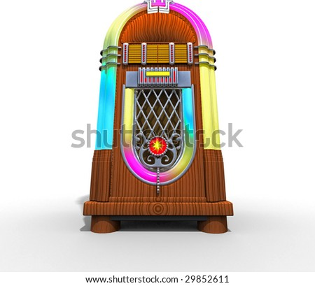 3d jukebox with lots of colors shot on white background