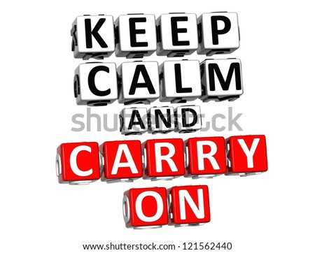 3D Keep Calm And Carry On Button Click Here Block Text over white background - stock photo