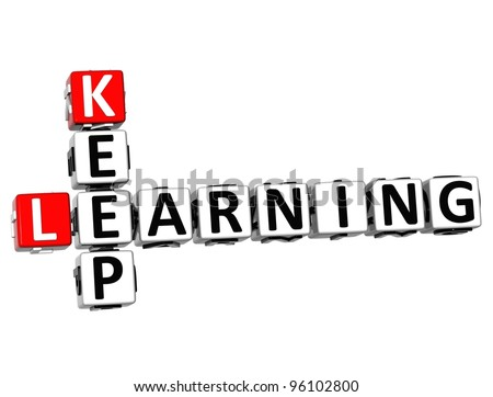 3D Keep Learning text Crossword over white background