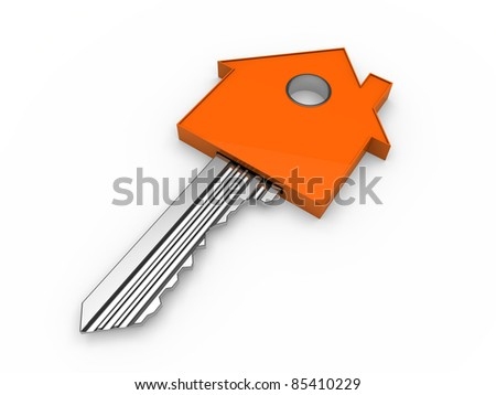 3d key home house orange estate security - stock photo