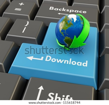 3d keyboard button with globe and green arrow - download concept - stock photo