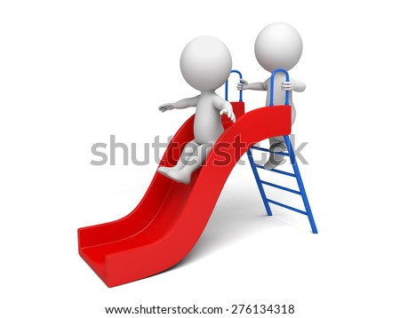 3d kid play on a slide. 3d image. Isolated white background - stock photo