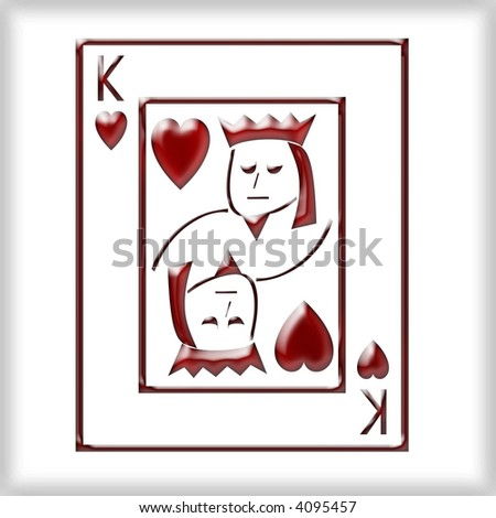 3d king of Hearts - stock photo