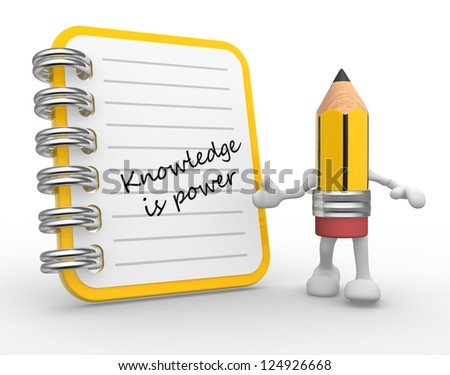 3d Knowledge is power. Notebook and a pencil. Education concept. 3d render - stock photo