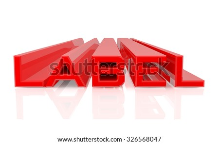 3D LABEL word on white background 3d rendering