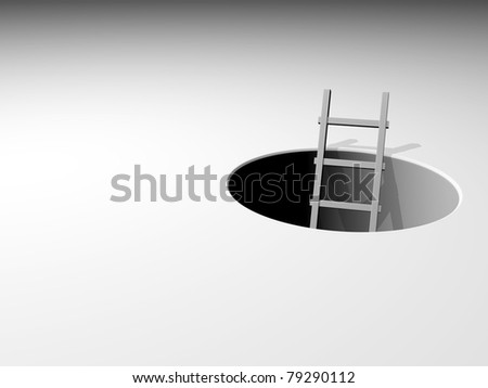 3d ladder leading from underground - 3d illustration - stock photo