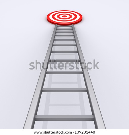 3d ladder with target on the top of it - stock photo