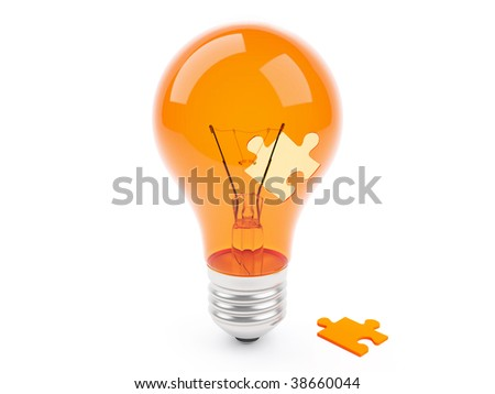 3d lamp with jigsaw puzzle isolated on the white background - stock photo