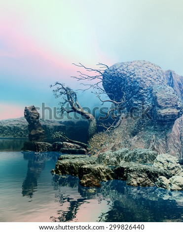 3D landscape Illustration of an island with little vegetation and a mysterious aspect  - stock photo
