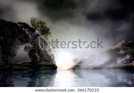 3D landscape Illustration where it is observed two large rocks in the background being than one there is vegetation on calm waters in the late afternoon with the sky with many clouds - stock photo