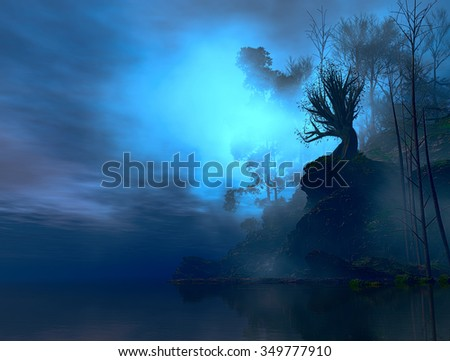 3D landscape Illustration where we observe part of an island with a large tree on a rock and lush vegetation in a very cloudy atmosphere
