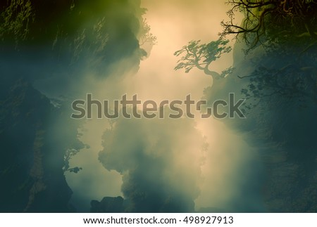 3D landscape Illustration which is observed rock formations with vegetation in a very cloudy atmosphere