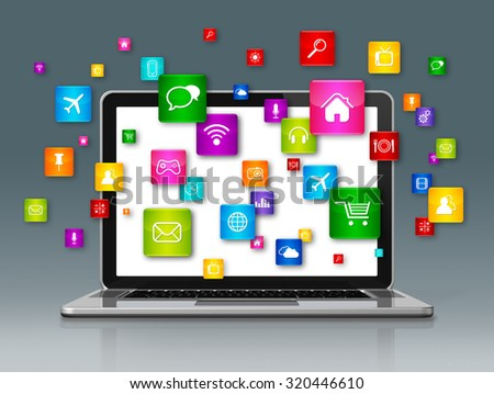 3D Laptop Computer and flying apps icons isolated on grey - stock photo