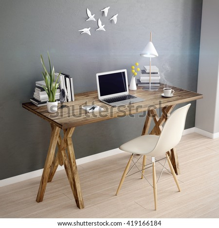 3d laptop computer on a desk, office workplace 3D illustration - stock photo