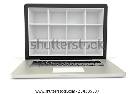 3d laptop computer with empty bookcase,shelves on white background