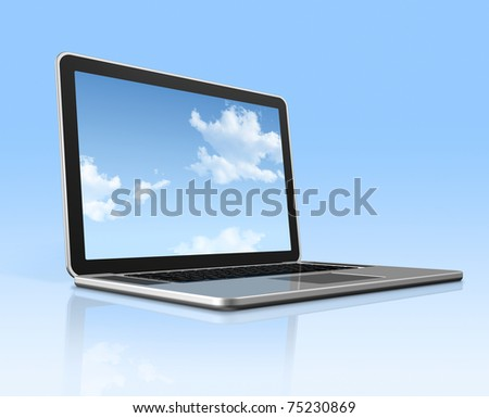 3D laptop computer with sky in screen isolated on blue with 2 clipping path : one for global scene and one for the screen - stock photo