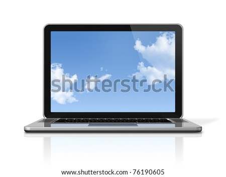 3D laptop computer with sky in screen isolated on white with 2 clipping path : one for global scene and one for the screen - stock photo