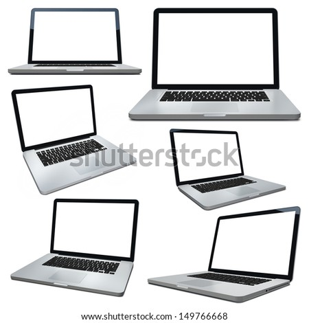 3d laptop isolated on white - stock photo