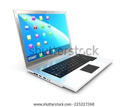 3d laptop, isolated white background, 3d image - stock photo