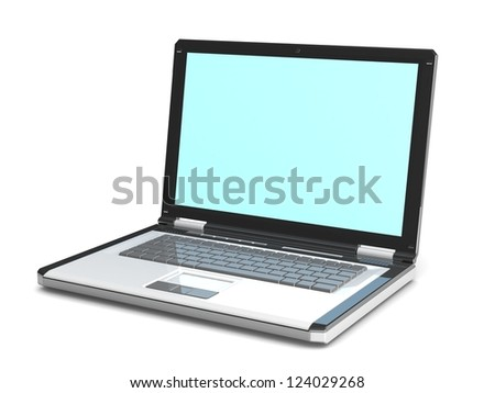 3d laptop.  notebook with a blank screen isolated on white background