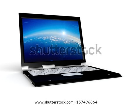 3d laptop. notebook with abstract background with, a blue screen. isolated on white background  - stock photo