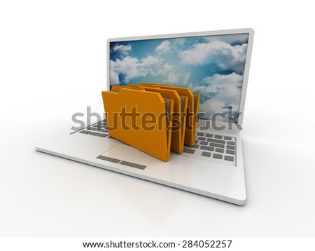 3d laptop. notebooks and folders with documents