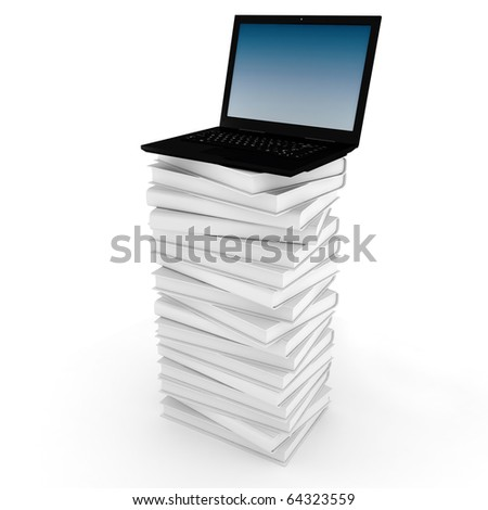 3d laptop on top of a pile of books - stock photo
