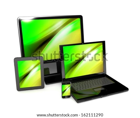 3d laptop, tablet computer, monitor and mobile phone template. isolated on white background