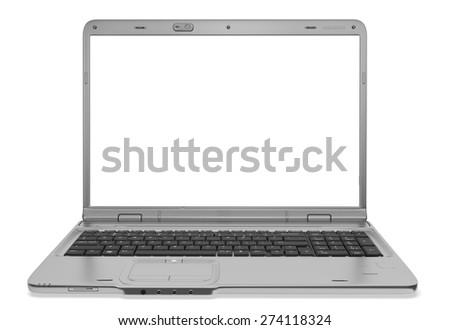 3D. Laptop, White, Computer. - stock photo