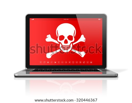 3D Laptop with a pirate symbol on screen. Hacking concept